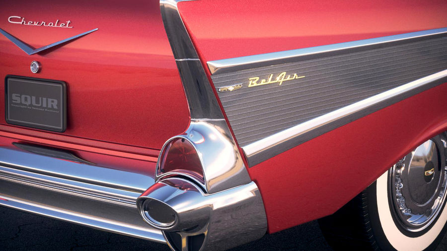 Chevrolet Bel Air Hardtop Coupe 1957 royalty-free 3d model - Preview no. 9