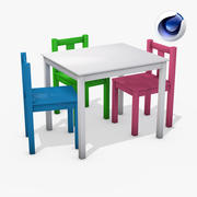 Mesa e cadeiras para crianças 3d model