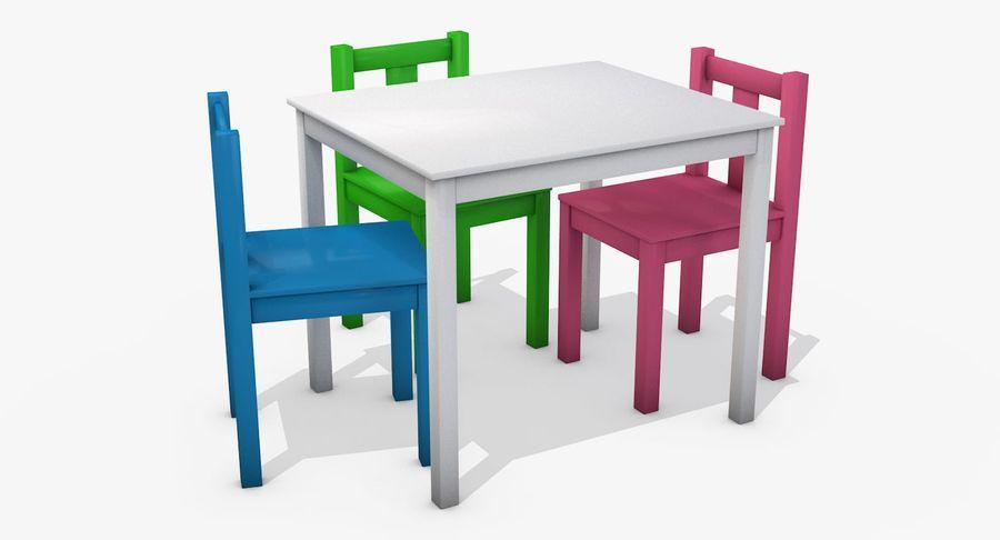 Mesa e cadeiras para crianças royalty-free 3d model - Preview no. 2