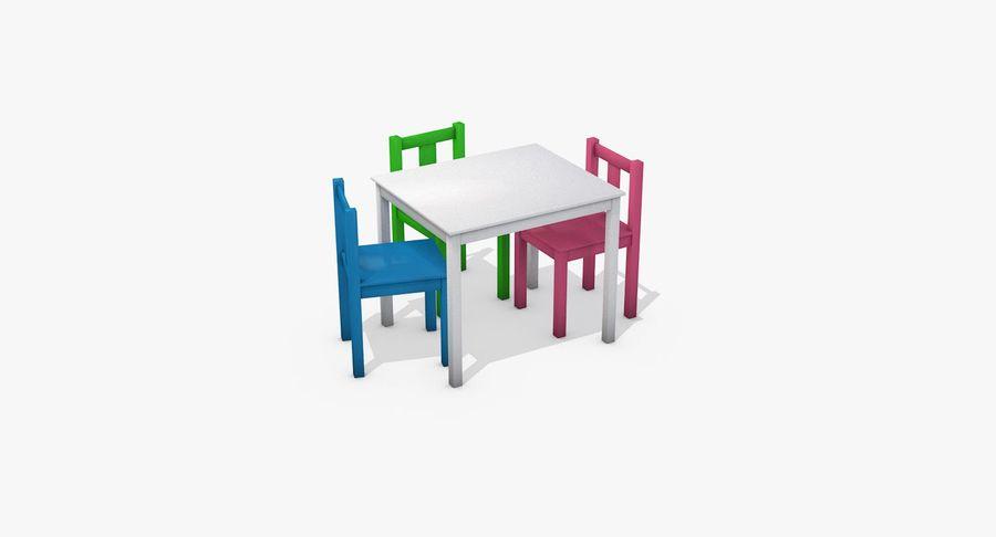 Mesa e cadeiras para crianças royalty-free 3d model - Preview no. 9
