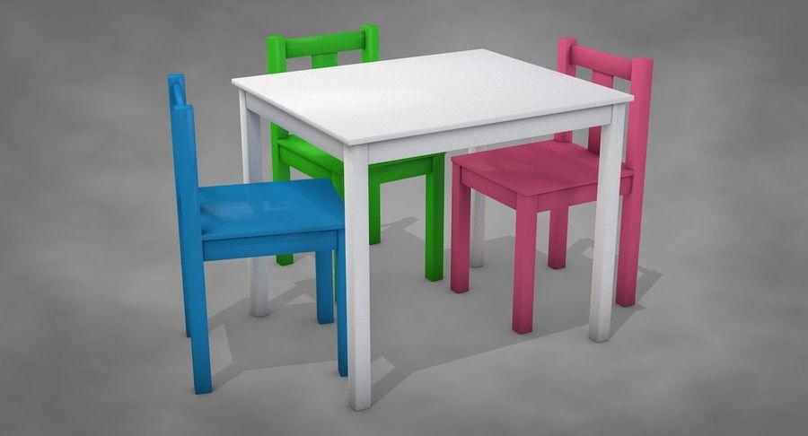 Mesa e cadeiras para crianças royalty-free 3d model - Preview no. 3