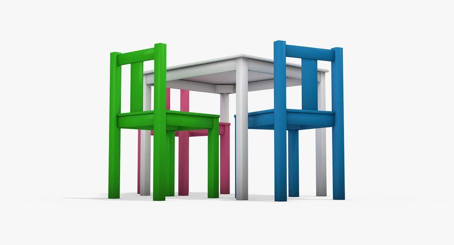 Mesa e cadeiras para crianças royalty-free 3d model - Preview no. 5