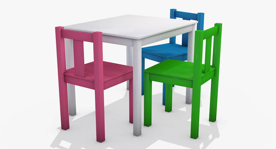 Mesa e cadeiras para crianças royalty-free 3d model - Preview no. 6