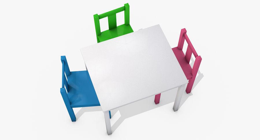 Mesa e cadeiras para crianças royalty-free 3d model - Preview no. 4