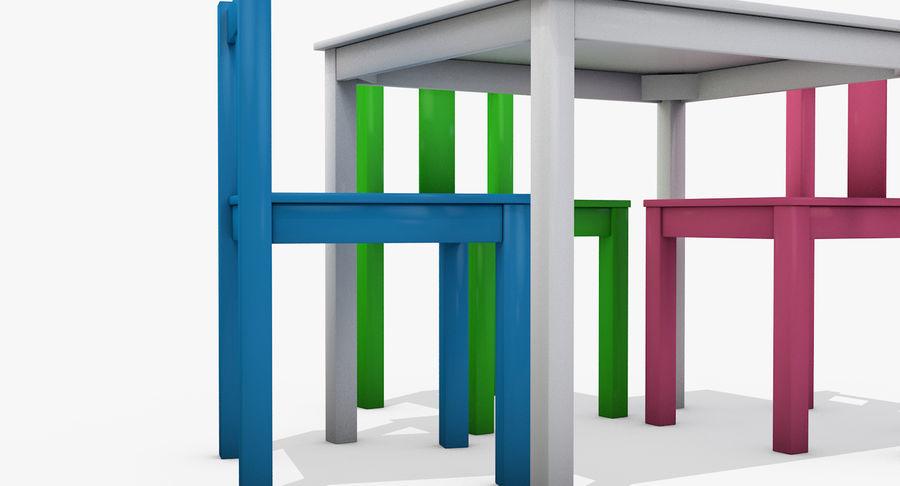 Mesa e cadeiras para crianças royalty-free 3d model - Preview no. 8