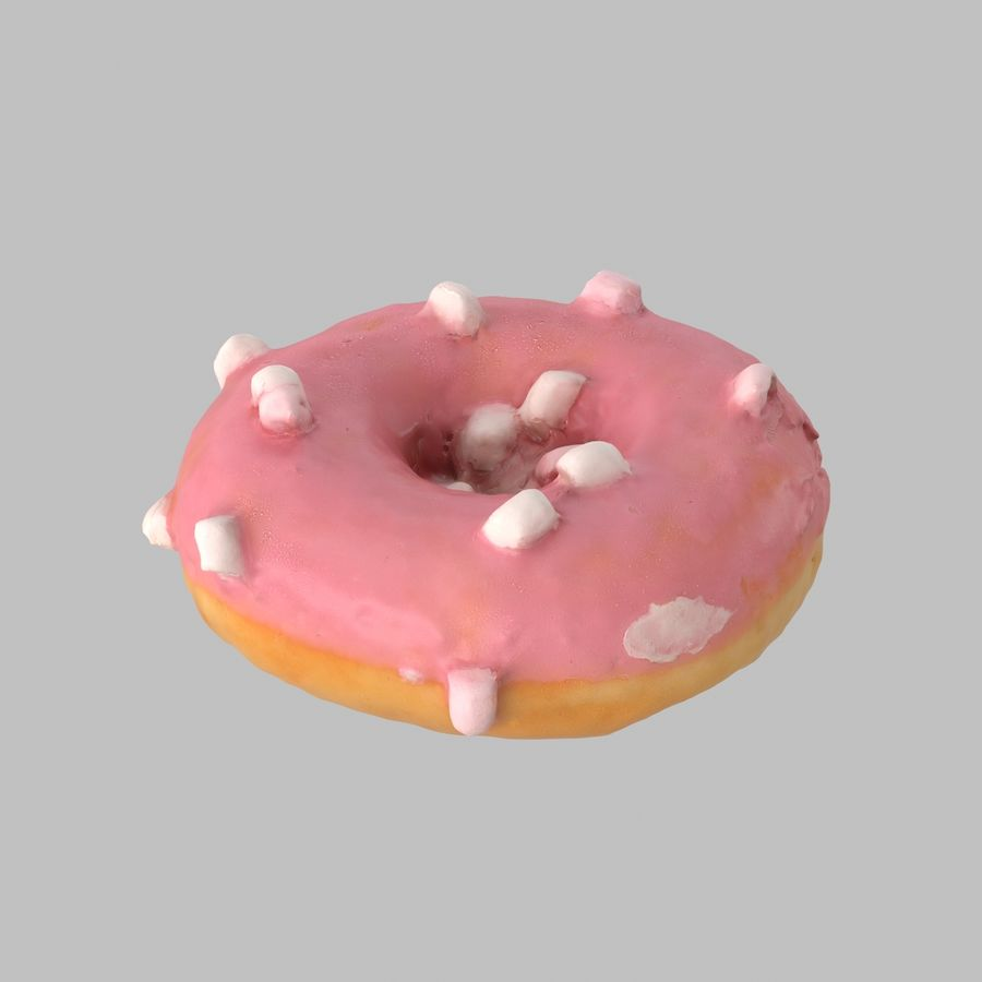 Marshmallow Donut royalty-free 3d model - Preview no. 2