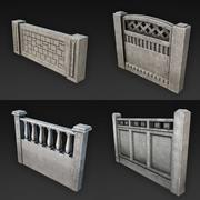 Collection of Concrete Fences 3d model