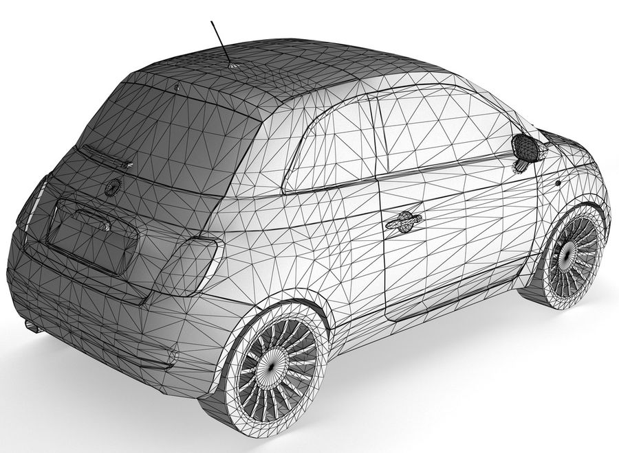 Fiat 500 royalty-free 3d model - Preview no. 2