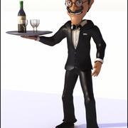 Cameriere dei cartoni animati 3d model