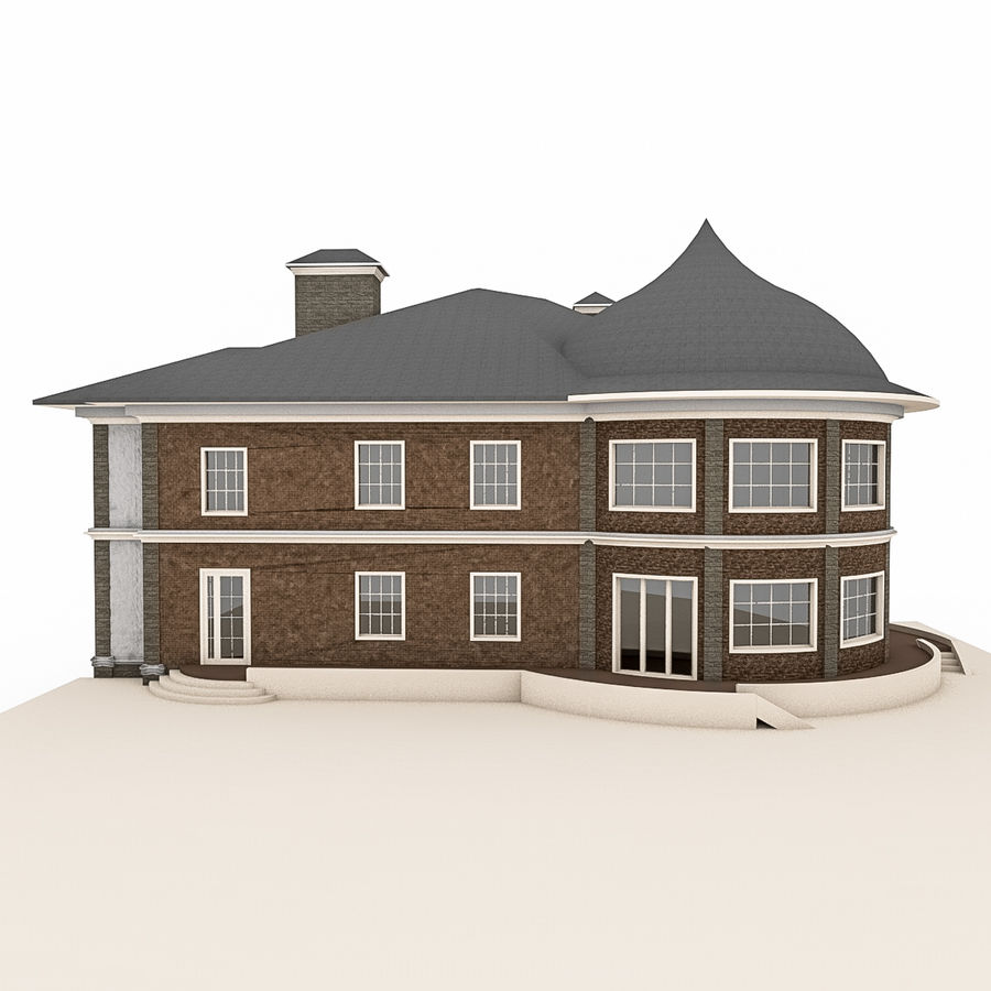 Big Stone House With Terrace royalty-free 3d model - Preview no. 4