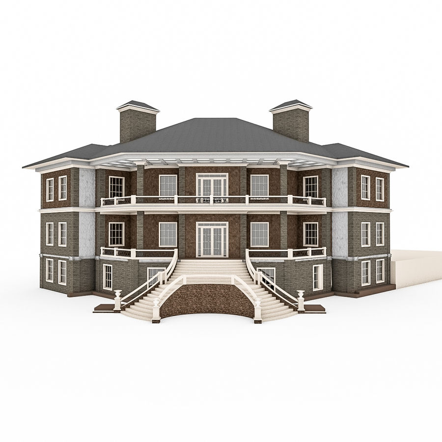 Big Stone House With Terrace royalty-free 3d model - Preview no. 1