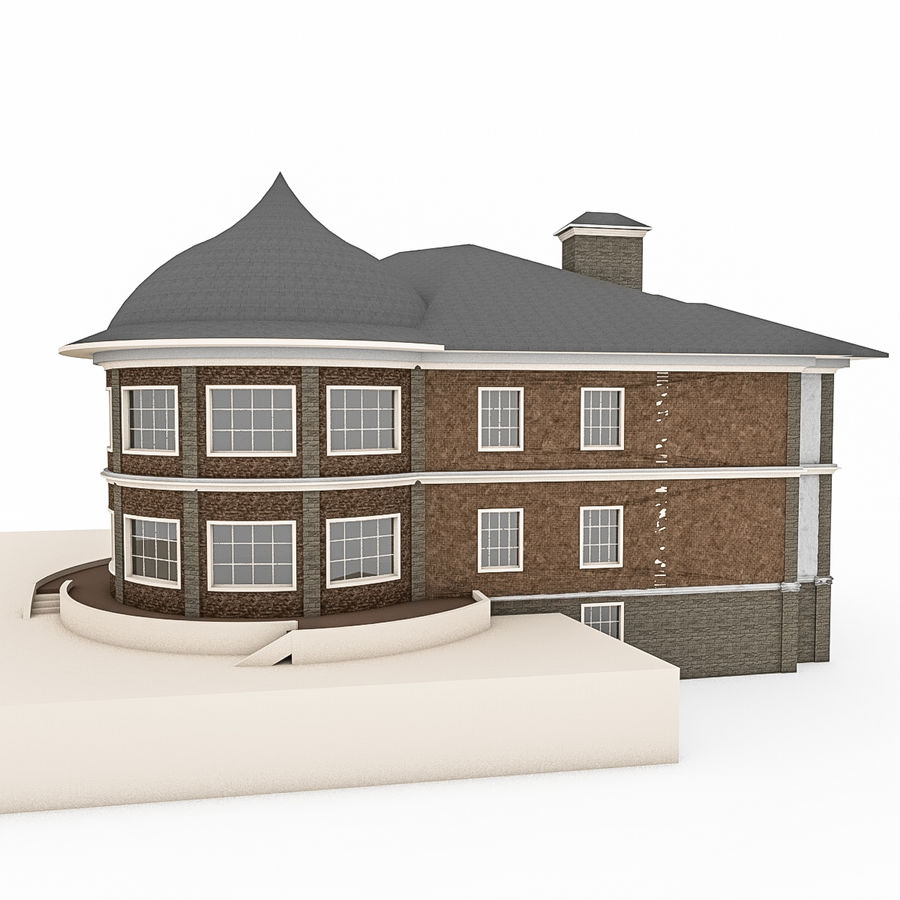 Big Stone House With Terrace royalty-free 3d model - Preview no. 5