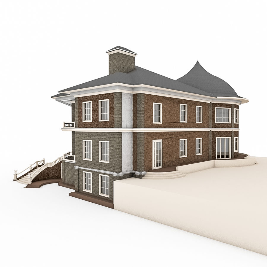 Big Stone House With Terrace royalty-free 3d model - Preview no. 3