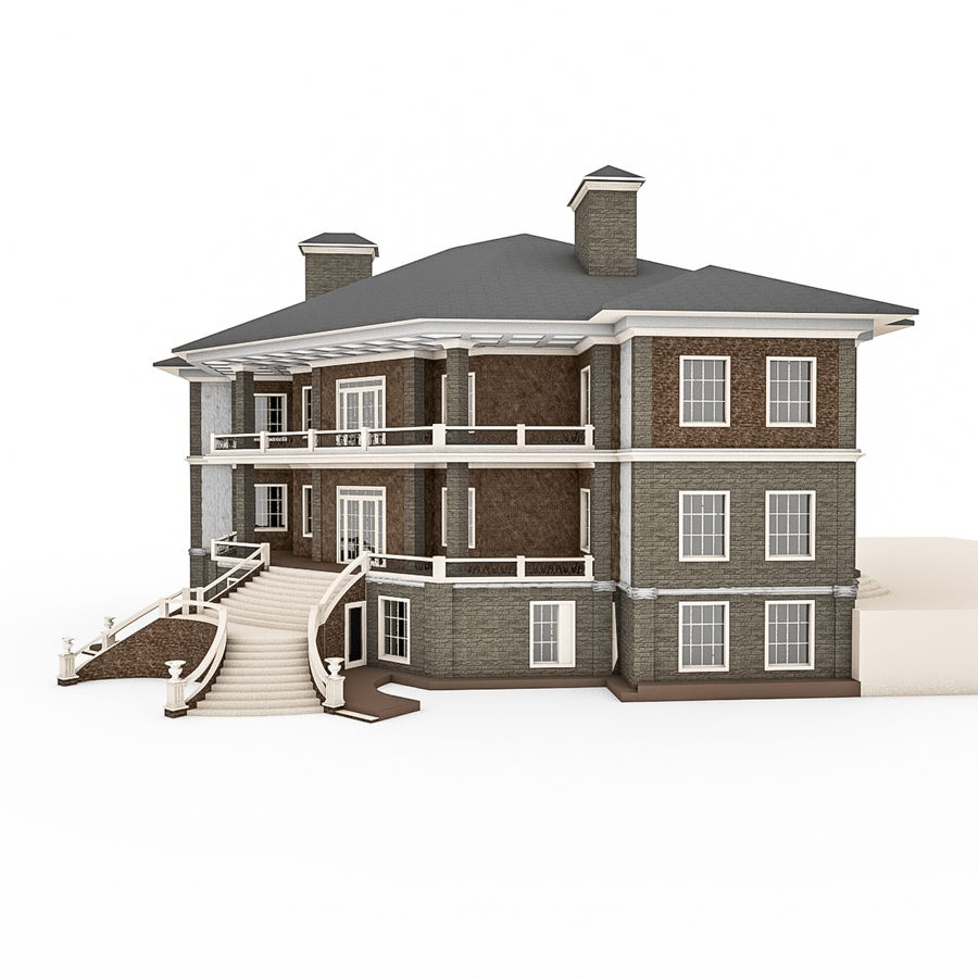 Big Stone House With Terrace royalty-free 3d model - Preview no. 2
