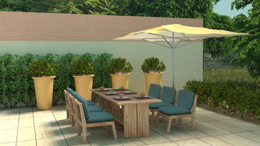 Bahçe mobilyaları ve bitkileri royalty-free 3d model - Preview no. 1