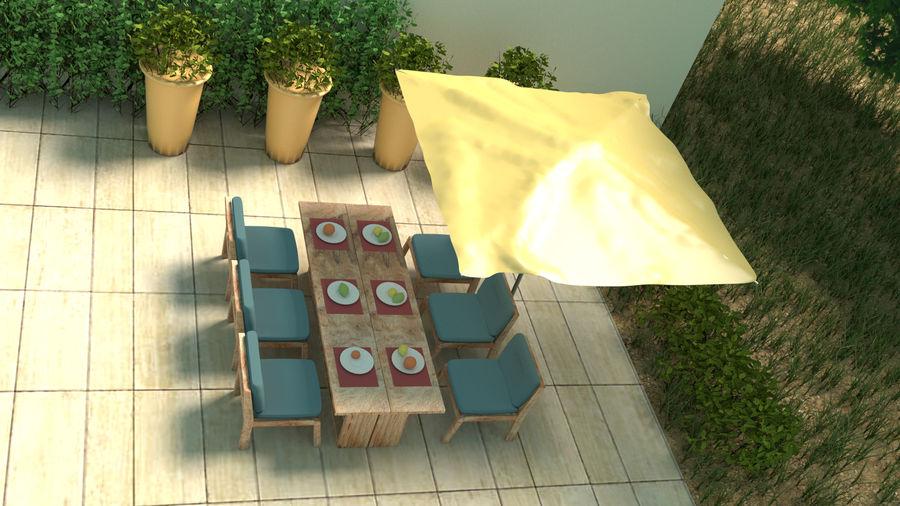 Bahçe mobilyaları ve bitkileri royalty-free 3d model - Preview no. 2