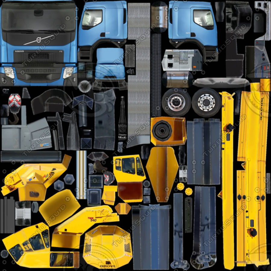 Volvo FE Crane 2013 royalty-free 3d model - Preview no. 13