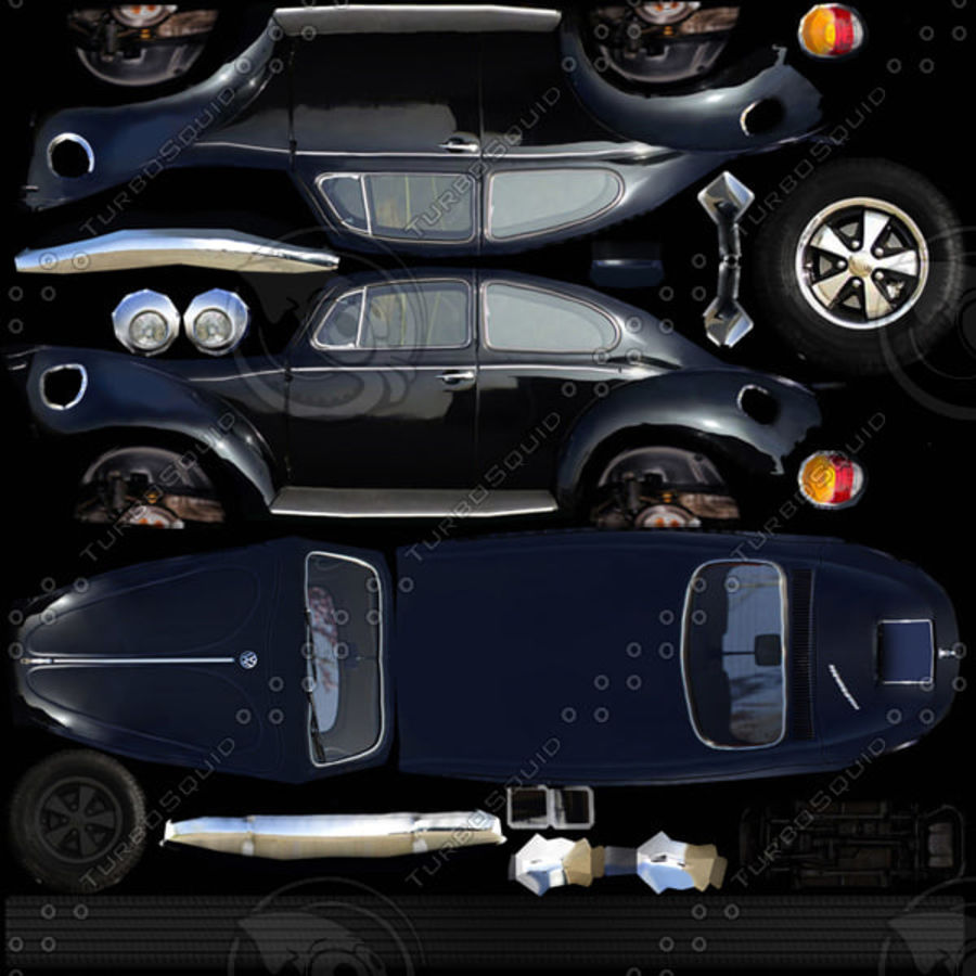 VW Beetle Kafer 1962 royalty-free modelo 3d - Preview no. 9