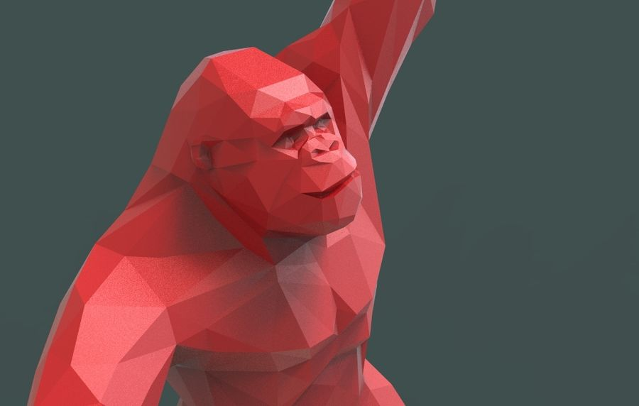 King Kong low poly royalty-free 3d model - Preview no. 8