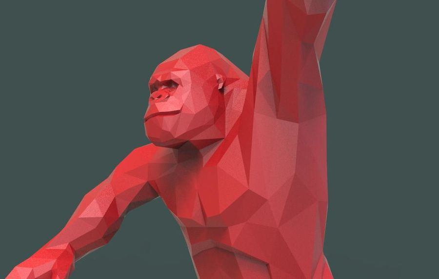 King Kong low poly royalty-free 3d model - Preview no. 17