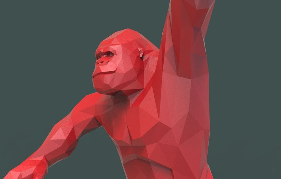 King Kong low poly royalty-free 3d model - Preview no. 9
