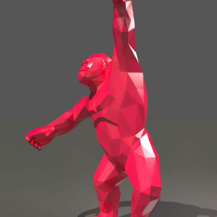 King Kong low poly royalty-free 3d model - Preview no. 19