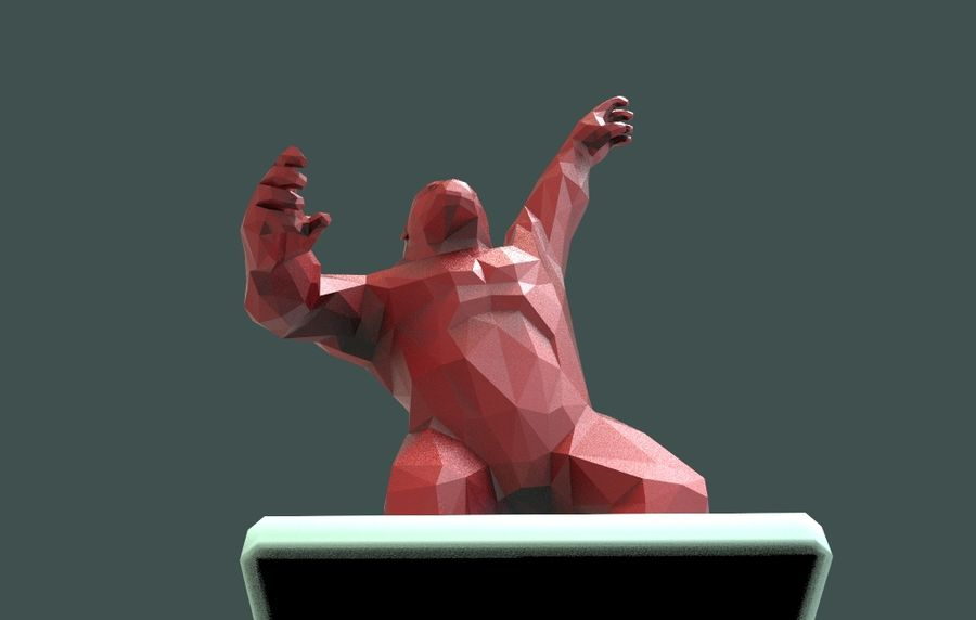 King Kong low poly royalty-free 3d model - Preview no. 11