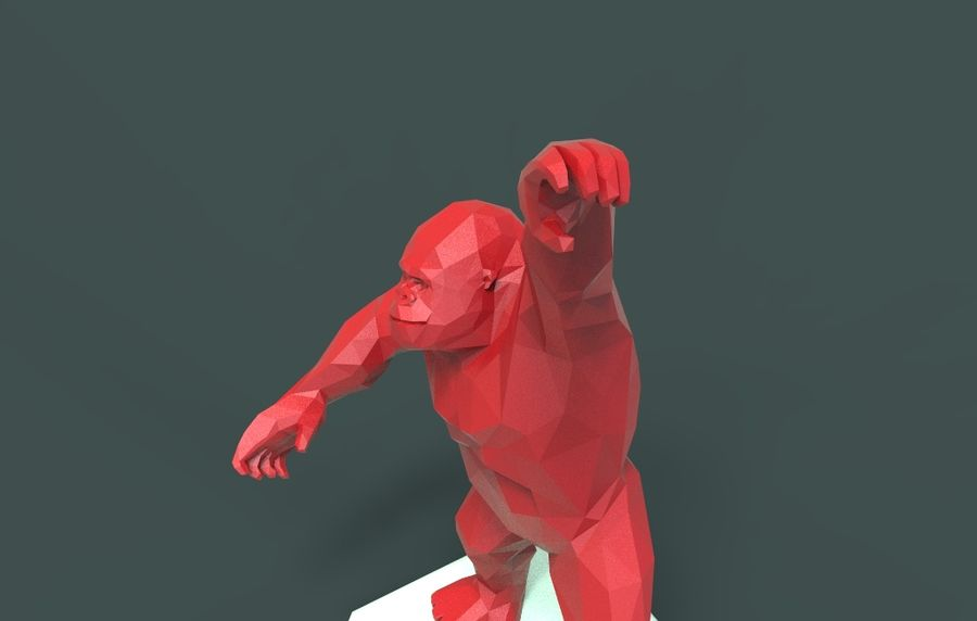 King Kong low poly royalty-free 3d model - Preview no. 10