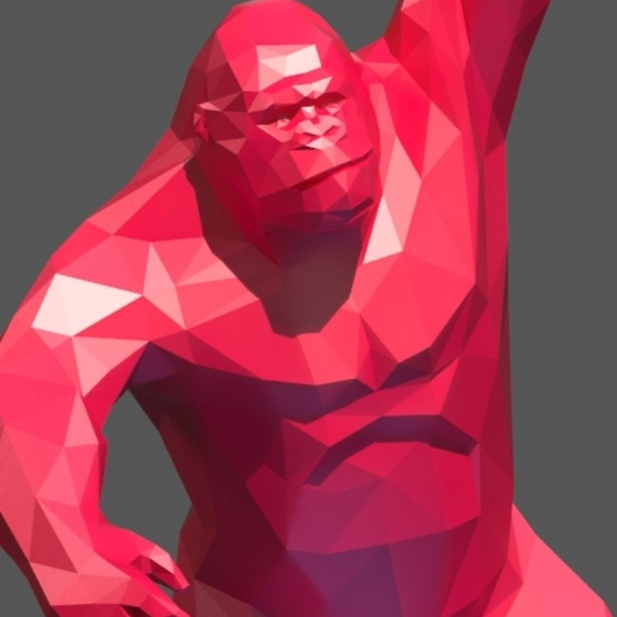 King Kong low poly royalty-free 3d model - Preview no. 2