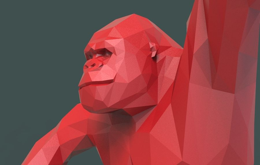 King Kong low poly royalty-free 3d model - Preview no. 15