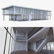 Office building one with interior full 3d model