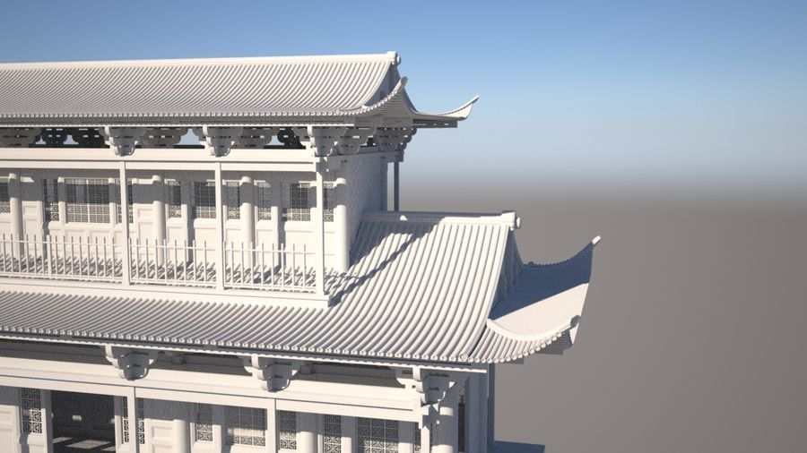 Chinese Temple on Bridge royalty-free 3d model - Preview no. 6