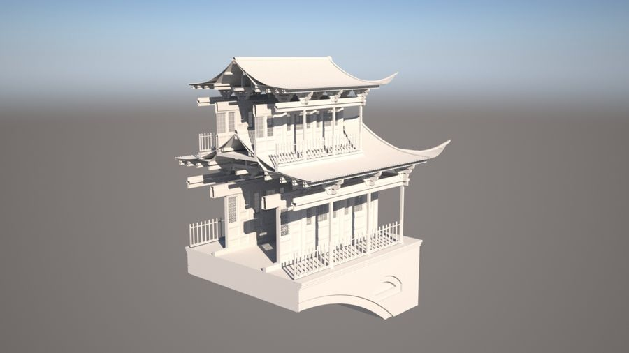 Chinese Temple on Bridge royalty-free 3d model - Preview no. 8