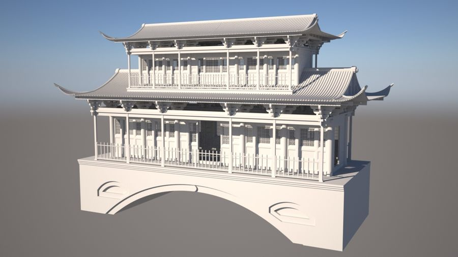 Chinese Temple on Bridge royalty-free 3d model - Preview no. 3