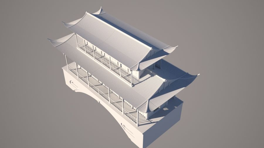 Chinese Temple on Bridge royalty-free 3d model - Preview no. 7