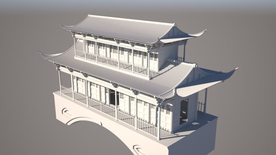 Chinese Temple on Bridge royalty-free 3d model - Preview no. 2