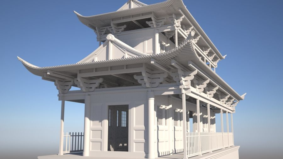 Chinese Temple on Bridge royalty-free 3d model - Preview no. 1
