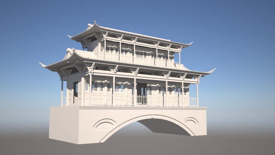 Chinese Temple on Bridge royalty-free 3d model - Preview no. 4