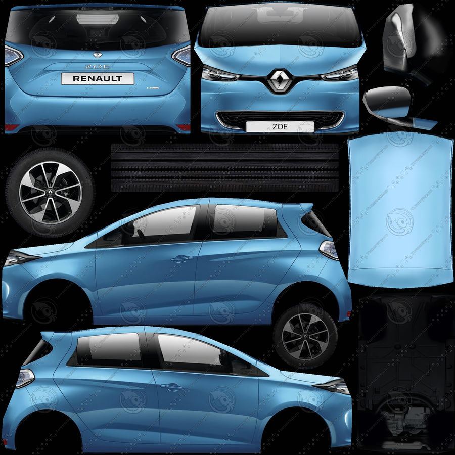 Renault Zoe 2017 royalty-free 3d model - Preview no. 10