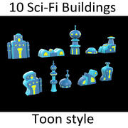 10 Toon Scifi buildings 3d model