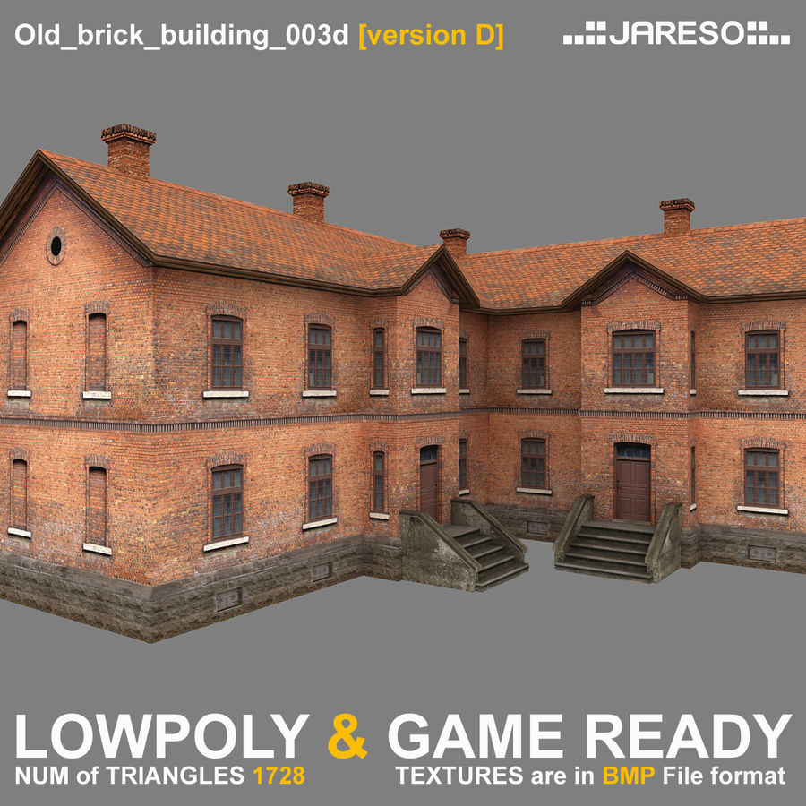 Old Brick Apartment Building: Lowpoly Two-floor Old Brick Building