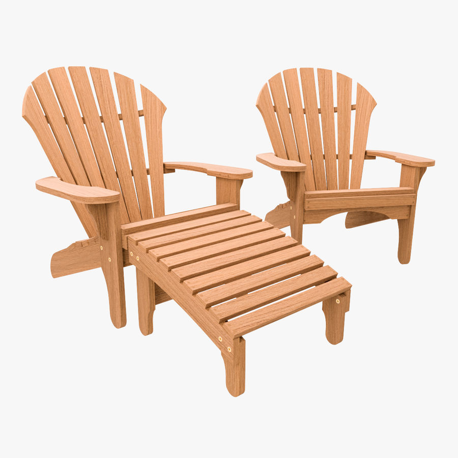 Atlantic Adirondack Chair And Footrest Royalty Free 3d Model   Preview No. 1
