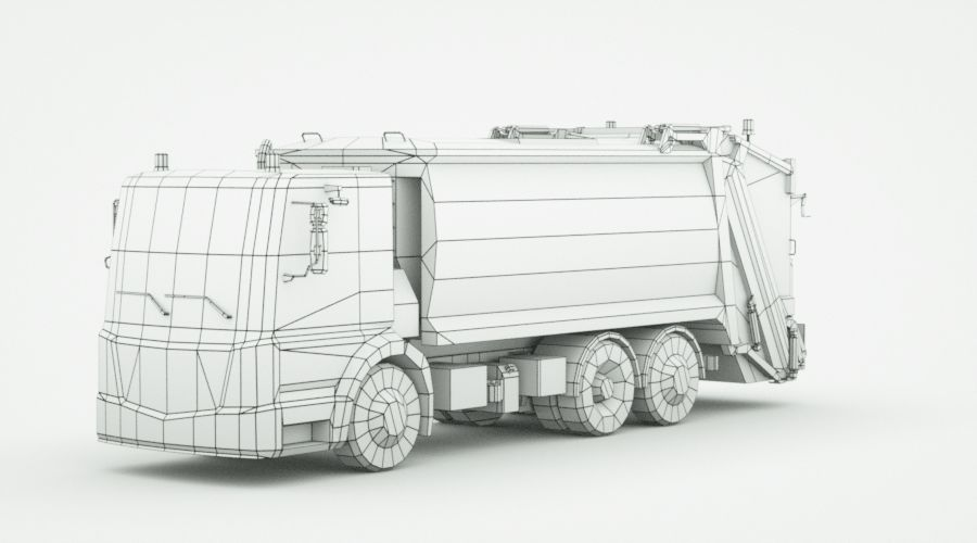 Generic Garbage truck royalty-free 3d model - Preview no. 11