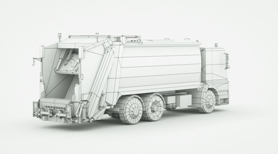 Generic Garbage truck royalty-free 3d model - Preview no. 10