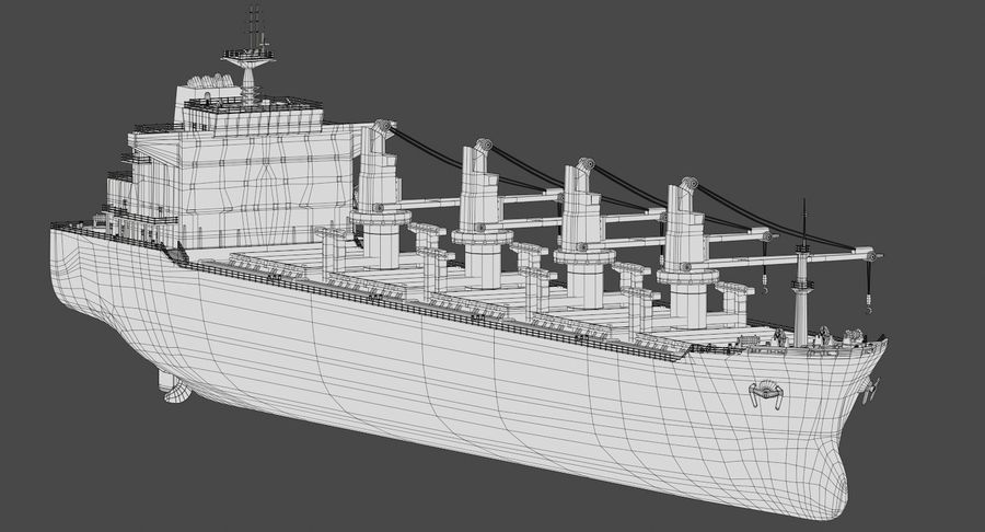 Bulker Ship royalty-free 3d model - Preview no. 16