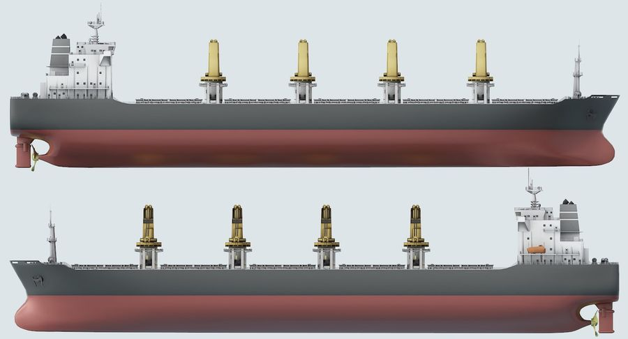 Bulker Ship royalty-free 3d model - Preview no. 13