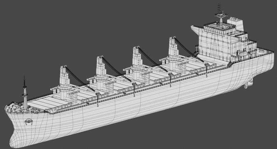 Bulker Ship royalty-free 3d model - Preview no. 15