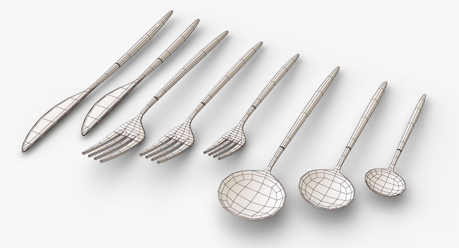 Flatware Spoon Fork Knife royalty-free 3d model - Preview no. 10