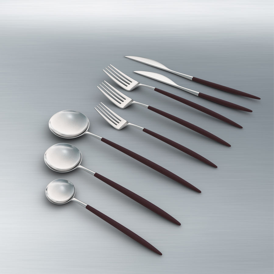 Flatware Spoon Fork Knife royalty-free 3d model - Preview no. 2