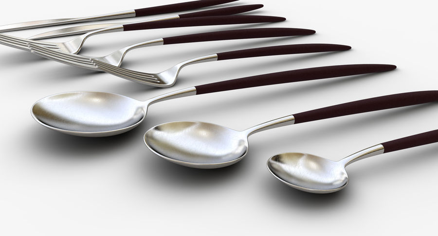 Flatware Spoon Fork Knife royalty-free 3d model - Preview no. 8